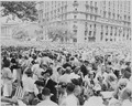 Photograph of a large crowd gathered outside the Willard Hotel in Washington to welcome General Dwight D. Eisenhower. - NARA - 199115.tif