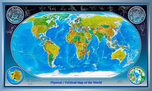 Physical Political World Map