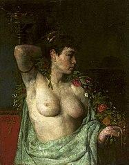 Bacchante - semi-nude feminine