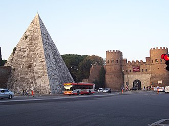 The Pyramid of Gaius Cestius and the Aurelian Walls Piazza di porta san Paolo 102 2167.jpg