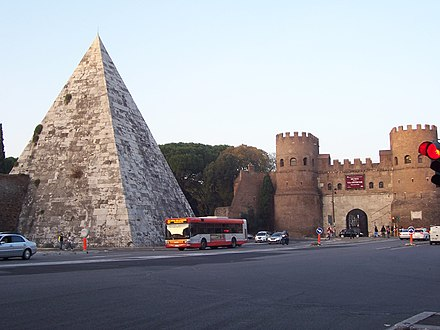 The Pyramid of Caius Cestius and the Aurelian Walls. Piazza di porta san Paolo 102 2167.jpg