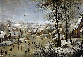 Winter Landscape with Ice skaters and Bird trap - Image: Pieter Brueghel the Younger Winter Landscape with a Bird trap WGA03617