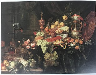 Sumptuous Still Life with Fruit and Vegetables, Covered Beaker, Ewer and Wine Glass with Parrot on a Perch