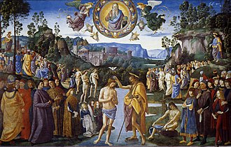 Baptism of Christ (Perugino, Rome) - Image: Pietro Perugino Baptism of Christ Sistine Chapel cat 13a