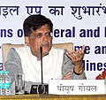 Piyush Goyal addressing at the launch of the Online Portal for filling of Evaluation Template for Star Rating of Mines, in New Delhi.jpg