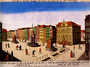 Liège Revolution - The place du Marché and the city hall of Liège in the mid-18th century