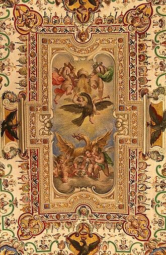 Vatican Library - Image: Plafond Sale Sistine Salle des Archives pontificales (2)