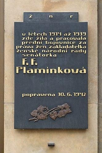 Františka Plamínková - Plaque on the house in Prague where Plamínková lived and worked between 1914 and 1939
