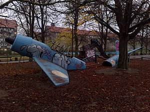 Nørrebroparken - Playground modeled after a plane crash
