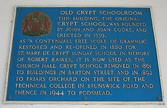 The Crypt School - Plaque at the site of the old Crypt School.