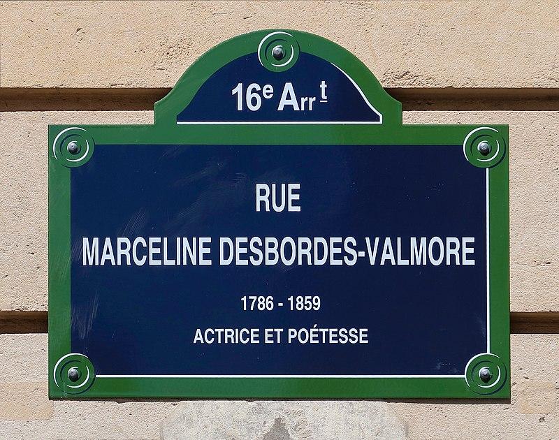 Plaque rue Marceline-Desbordes-Valmore, Paris 16e 3.jpg
