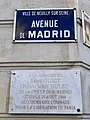 Plaques avenue Madrid Mémoire René Guiot Henri Van Hulst Neuilly Seine 1.jpg