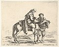 Plate 6- a peasant on horseback in profile facing the right, holding a basket and talking to another man standing behind the horse, from 'Diversi capricci' MET DP833177.jpg