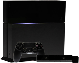 En PlayStation 4 konsol samt en DualShock 4 controller og PlayStation Eye.