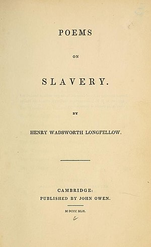 Poems on Slavery - Title page from the first edition, 1842