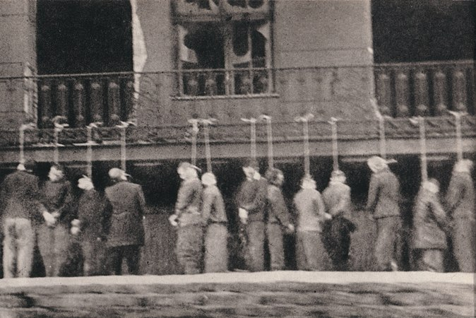 Poles, inmates of Pawiak prison, hanged by Germans in Leszno Street , Warsaw February 11th 1944.jpg