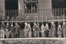 Polish inmates of Pawiak prison hanged by Germans in Leszno Street, Warsaw, 11 February 1944 (photo taken secretly from tram by a member of the Polish Home Army)