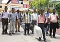 Polling officials carrying the Electronic Voting Machines (EVMs) and other necessary belongings for use in the General Elections-2014, at the distribution centre, in Haldwani, Uttarakhand on May 06, 2014.jpg