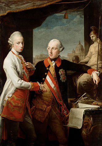 Leopold II, Holy Roman Emperor - Leopold (left) with his brother Emperor Joseph II, by Pompeo Batoni, 1769, Vienna, Kunsthistorisches Museum