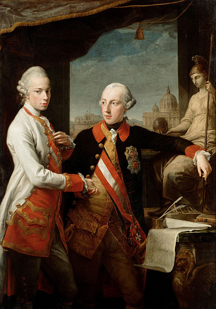 Joseph II (right) with his brother and successor Leopold VII (left) Pompeo Batoni 002.jpg