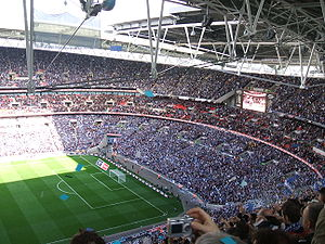 Portsmouth F.C. - Portsmouth fans at Wembley Stadium for the 2007–08 FA Cup semi-final with West Bromwich Albion