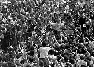 History of Solidarity - Millions cheered Pope John Paul II during his first visit to Poland as pontiff (1979).