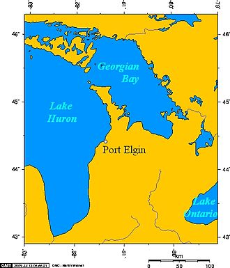 Port Elgin, Ontario - Port Elgin, Ontario, and Lake Huron, and Georgian Bay.