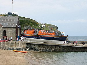 """Porthdinllaen Lifeboat Station - Tyne class lifeboat """"Hetty Rampton"""" on the slipway at the former Porthdinllaen Lifeboat Station, now replaced with a new larger structure for the current Tamar class boat."""