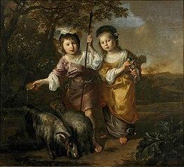 Portret van twee kinderen in pastorale kleding