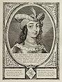 Portret van Ada, gravin van Holland, met een met veren en parels verfraaide hoofddeksel en een haarnetje. De omlijsting is versierd met het wapen van Holland. NL-HlmNHA 1477 53012908.JPG