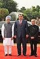 Pranab Mukherjee and the Prime Minister, Dr. Manmohan Singh with the President of the Republic of Tajikistan, Mr. Emomali Rahmon at his ceremonial reception, at Rashtrapati Bhavan, in New Delhi on September 03, 2012 (1).jpg