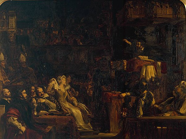 The Preaching of Knox before the Lords of the Congregation, 10th June 1559 by David Wilkie, Tate Museum, London Preaching of Knox before the Lords of the Congregation.jpg