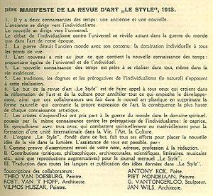 Manifesto - Image: Premiere manifeste de la Revue de stijl