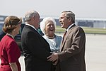 President George W. Bush and Barbara Bush are greeted by Georgia Governor Sonny Perdue.jpg