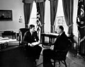 President John F. Kennedy with Ambassador of New Zealand, George Robert Laking.jpg