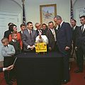 President Lyndon Johnson receives the 20th White House Thanksgiving Turkey 1967 002.jpg