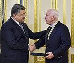 President of Ukraine Petro Poroshenko presented state awards to Senators John McCain and Lindsey Graham, 30 December 2016 (1).jpeg