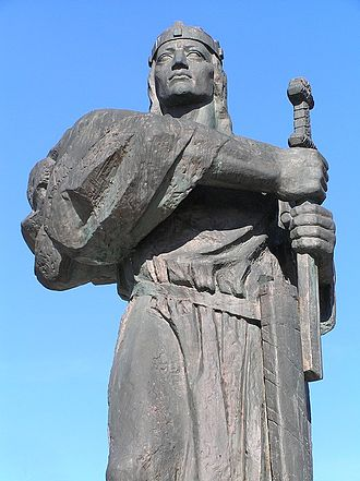 Pribina, ruler of Principality of Nitra, established and ruled the Balaton Principality from 839/840 to 861. Pribina, Nitra (2008).jpg
