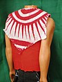 Print kanga cape and red tetron top -back view.JPG