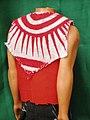 Print kanga cape and red tetron top -back view.JPG