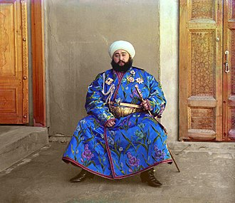 Borjigin - Mohammed Alim Khan, last Emir of the Manghit lineage, 1911. Early color photograph by Sergey Prokudin-Gorsky.
