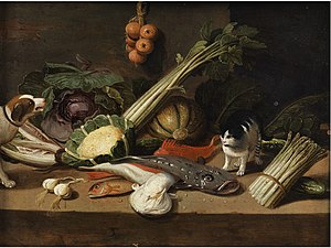 Pseudo-Jan van Kessel the Younger - Still life with fish, vegetables, a cat and a dog