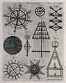 Pyrotechny; various designs for fireworks. Engraving by A. B Wellcome V0023734ER.jpg