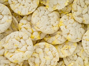 Rice cake - Puffed rice cakes, sold commercially in North America and Europe