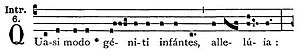 "Octave of Easter - Incipit of the Gregorian chant introit from the Liber Usualis for the Octave Sunday of Easter, from which it is called ""Quasimodo Sunday."""