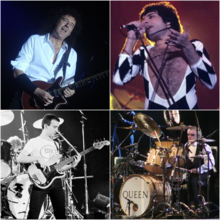 Queen – zleva shora Brian May, Freddie Mercury, John Deacon, Roger Taylor