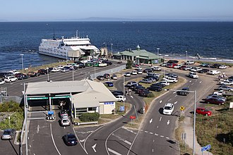 Searoad Ferries - Ferry terminal at Queenscliff, with ''MV Queenscliff'' unloading cars