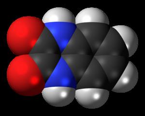 Quinoxalinedione - Image: Quinoxalinedione molecule spacefill