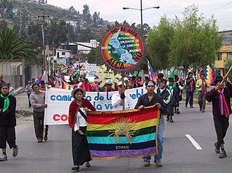 Confederation of Indigenous Nationalities of Ecuador - Members of CONAIE marched against the FTAA summit in Quito (October 31, 2002)