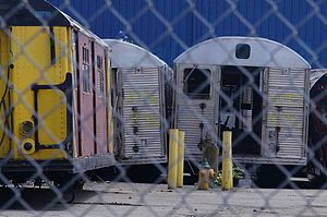 R32/A (New York City Subway car) - Retired R32 cars awaiting processing at Sims Metal Management in Newark, New Jersey.